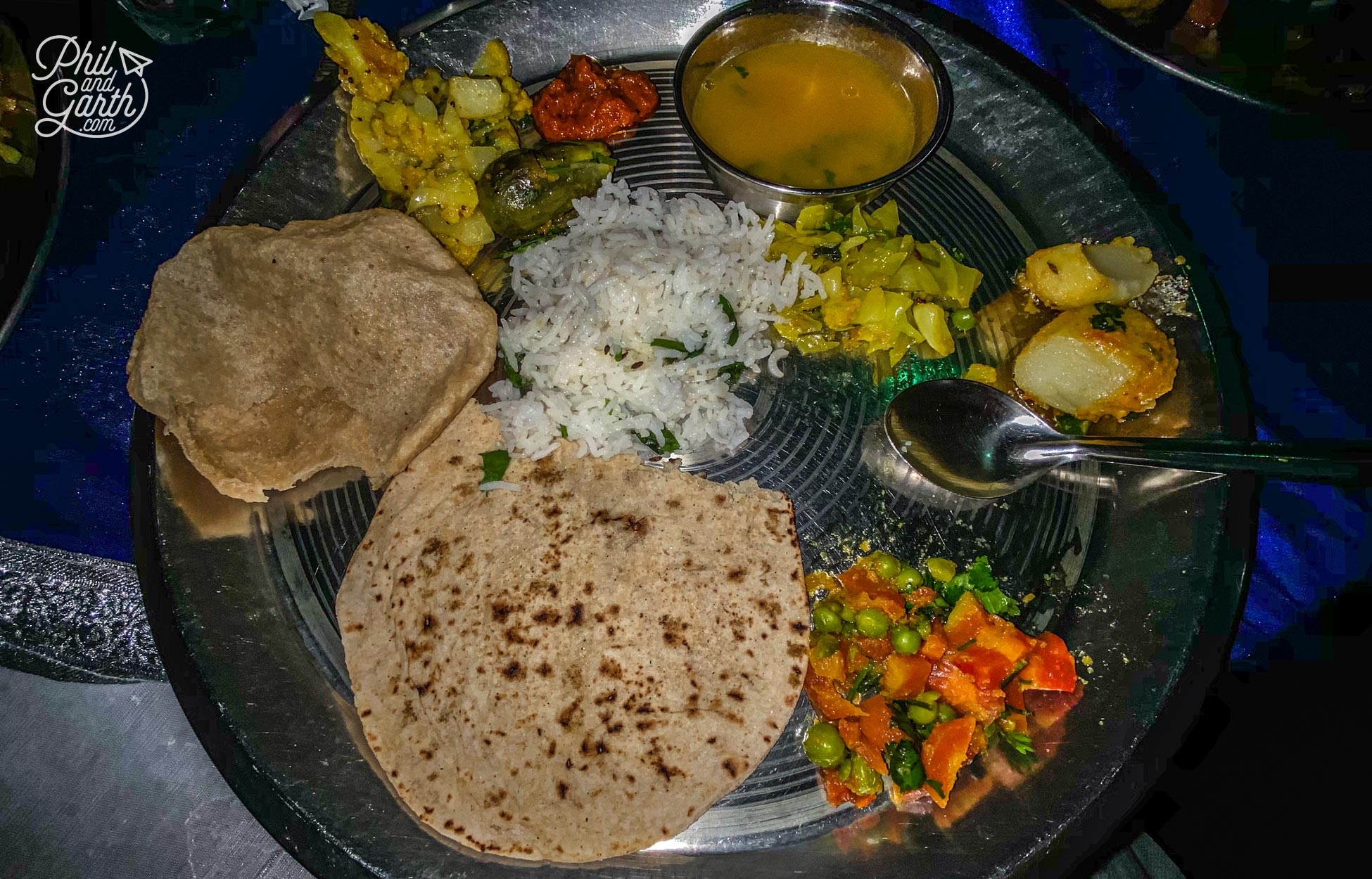 Our delicious thali dinner made by a local family in Pushkar