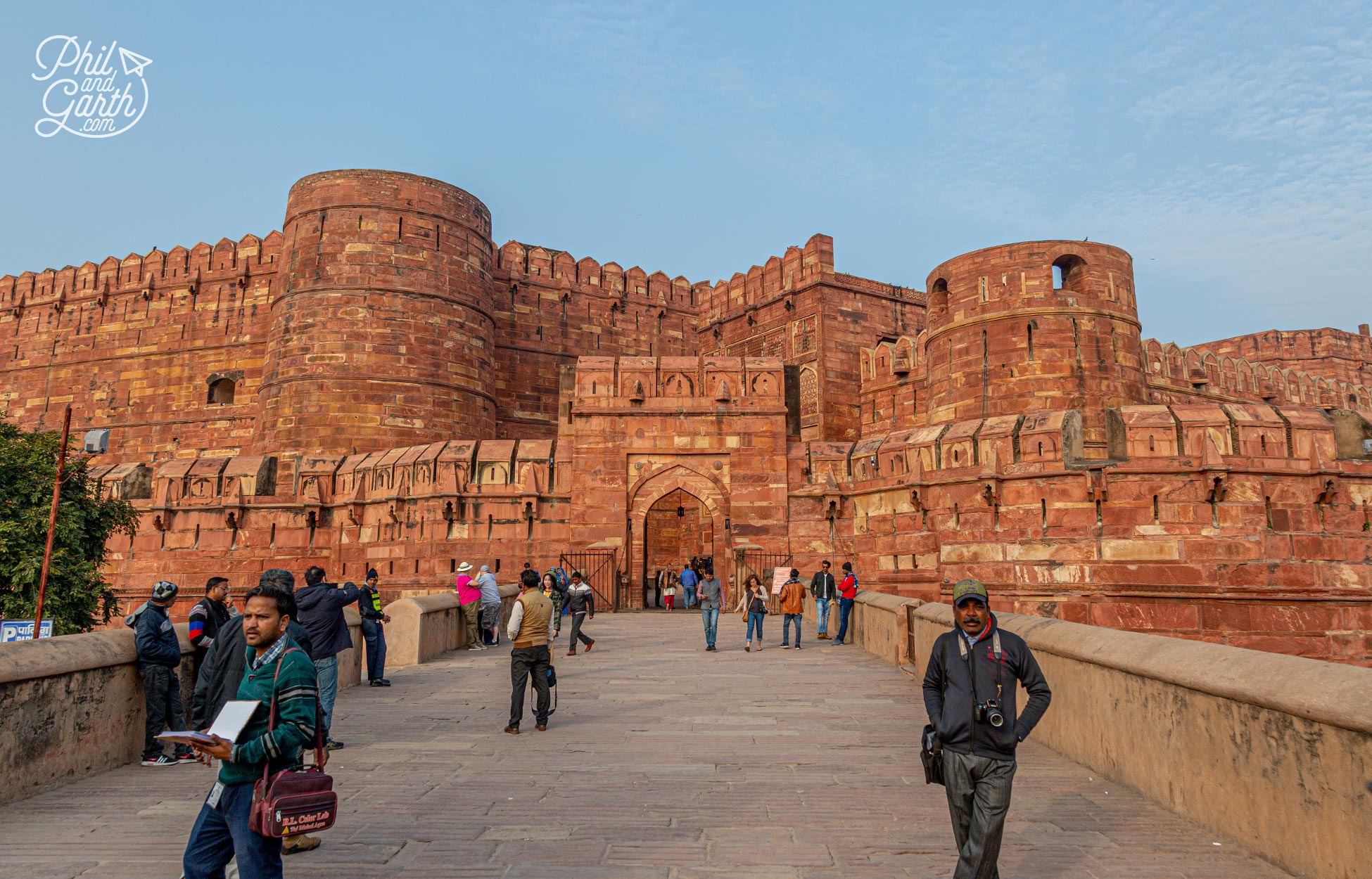 The colossal Agra Fort also known as Lal Qila or the Red Fort