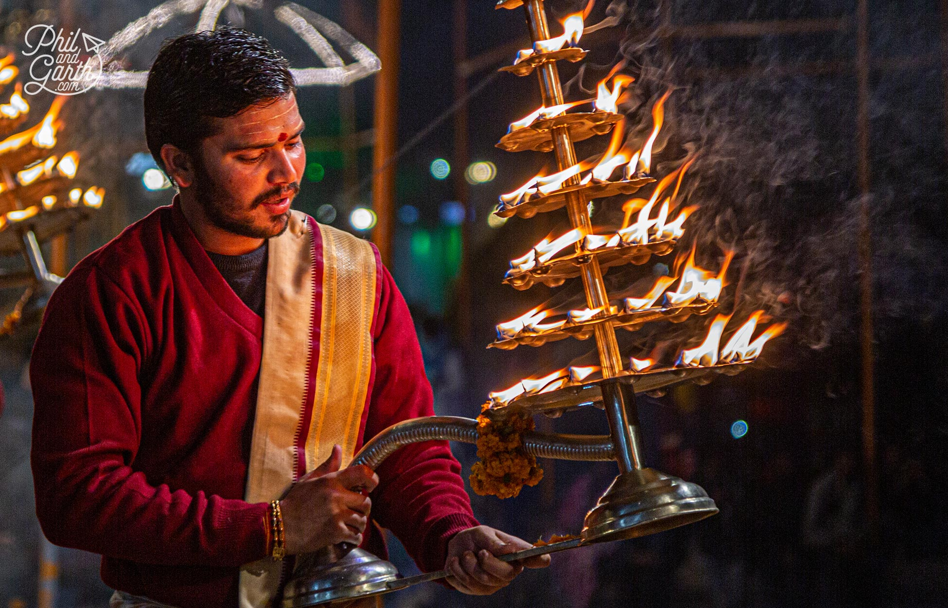 The prayers ceremony uses the light from deepas - big brass oil lamps