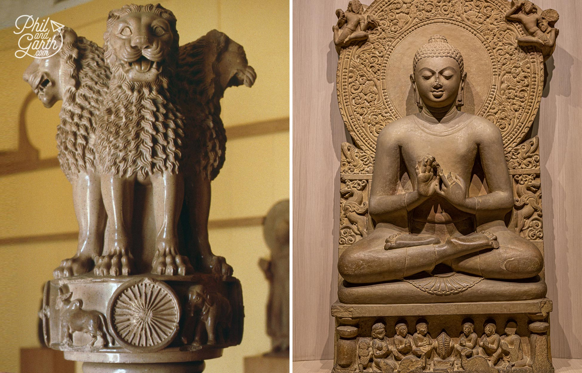 Two star attractions - The Lion Capital of Ashoka and a A statue of Buddha in the preaching position