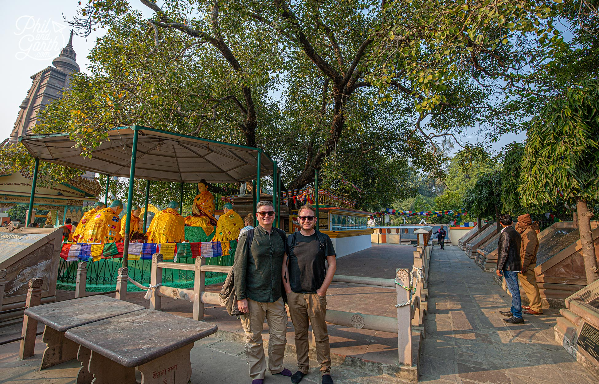 Next to the Bodhi tree at the Mulagandha Kuti Vihara temple