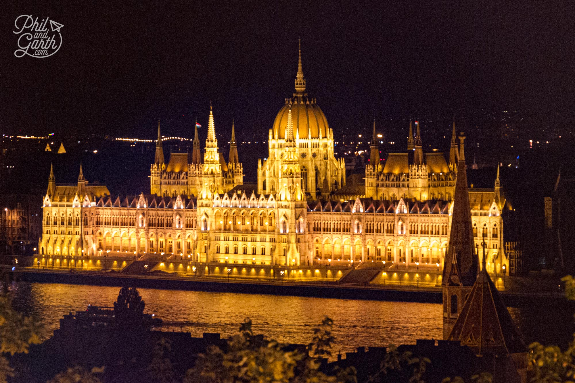 A view of the Hungarian Parliament Building at night from Fisherman's Bastion