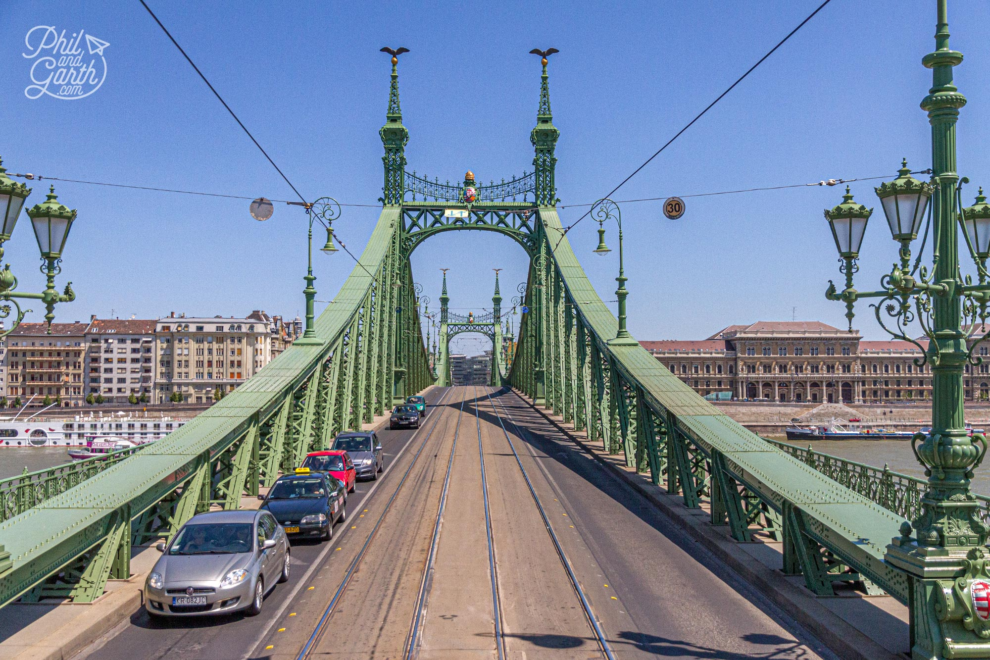Budapest's Liberty Bridge built in 1896 - one of the may bridges that connect the Buda and Pest sides together