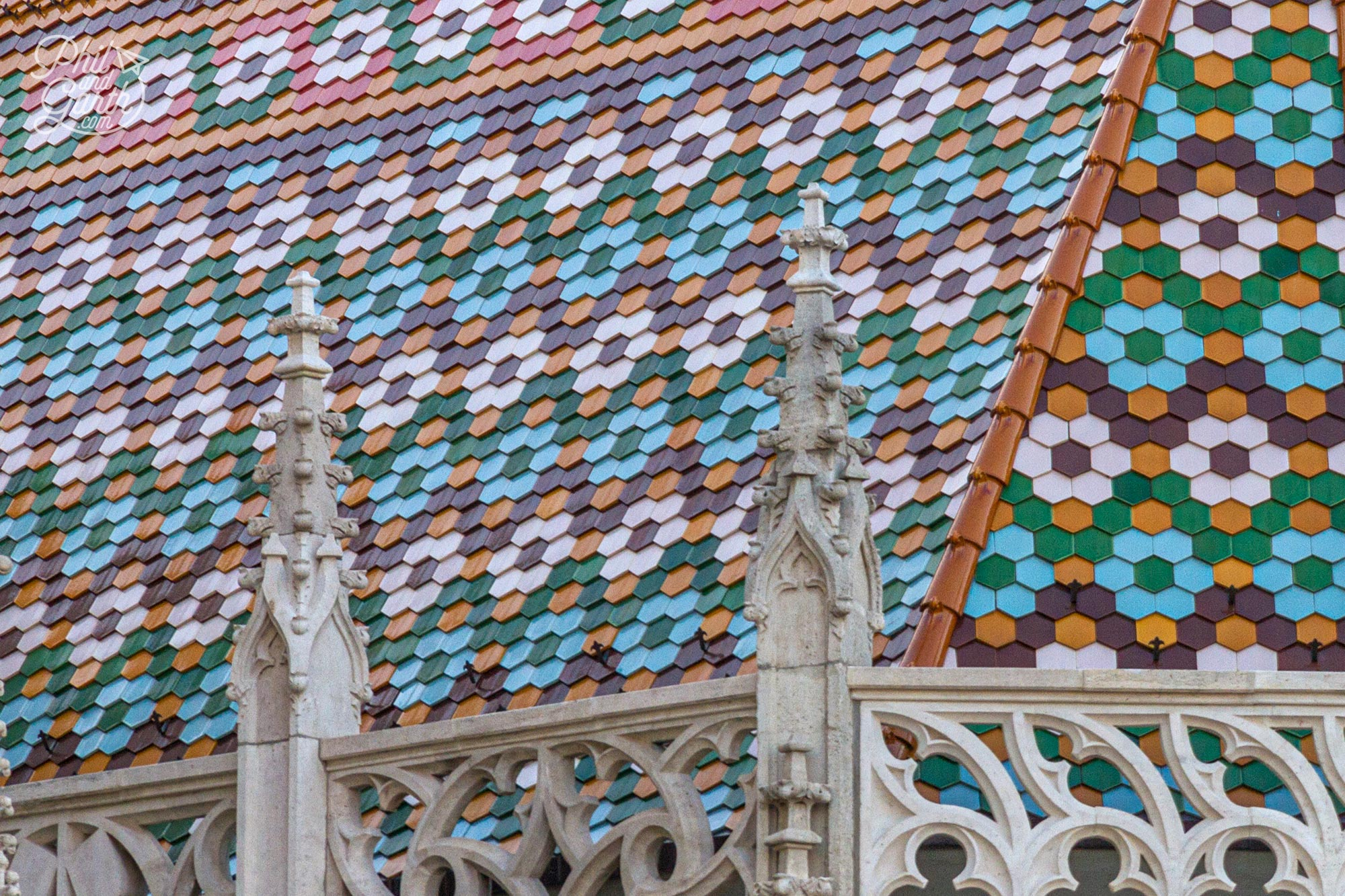 More of the roof tile art on the Traditional hungarian Roof tiles on the Matthias Church in Budapest Hungary