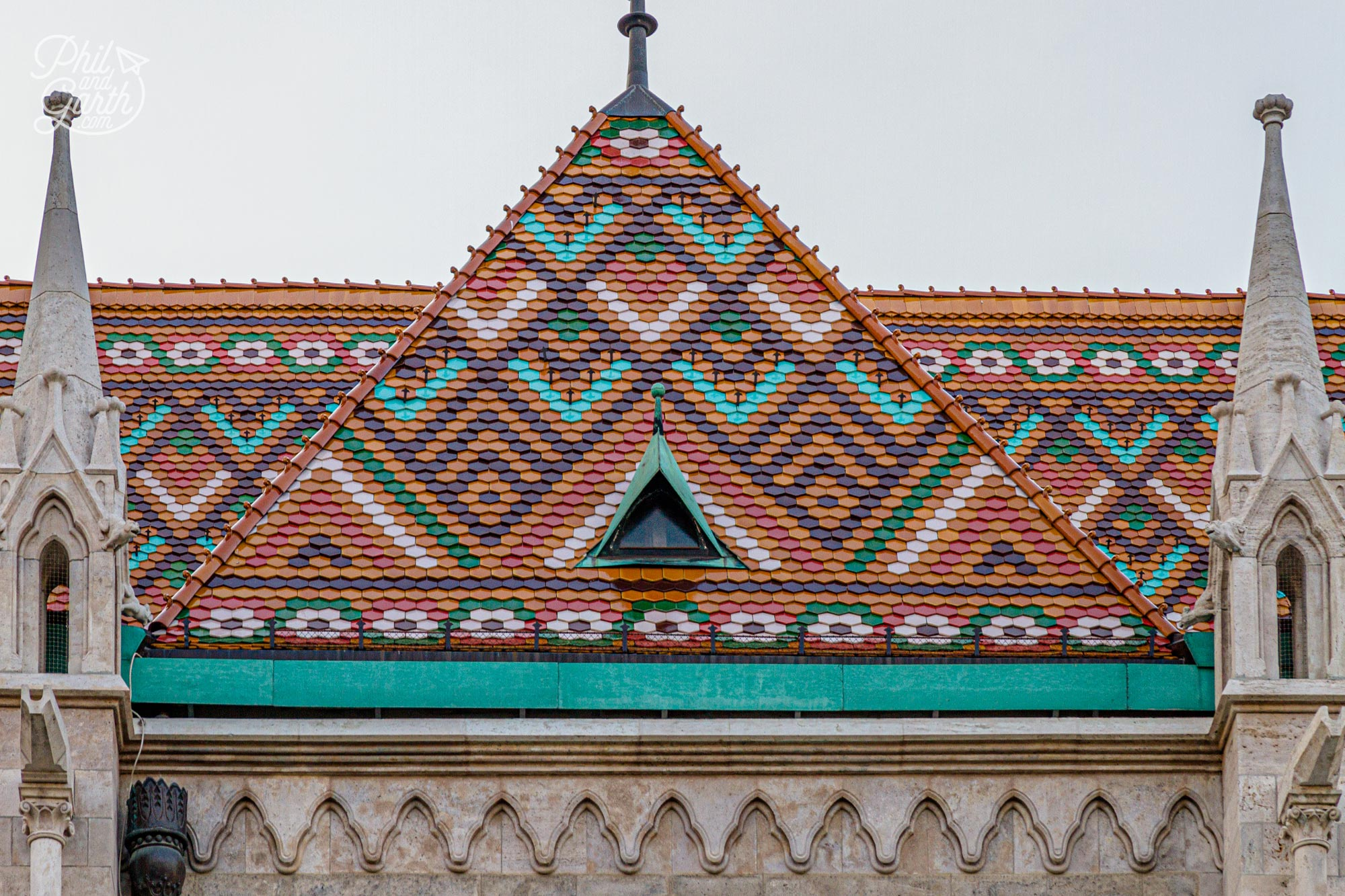 The colourful roof tiles in geometic designs are fabulous