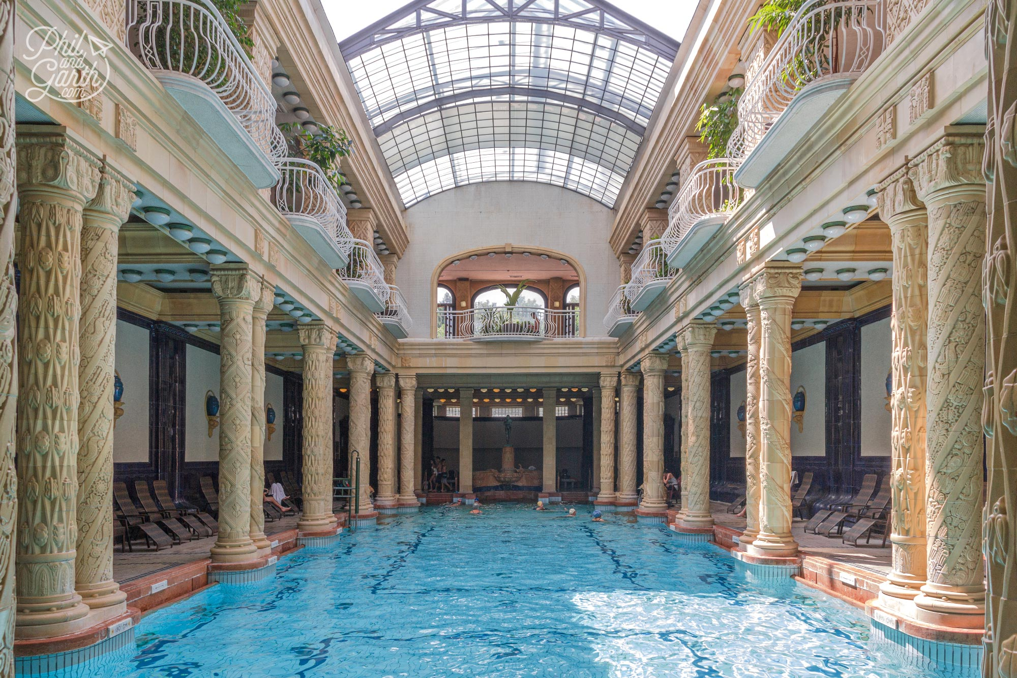 The elegant indoor swimming pool at the Gellért Spa