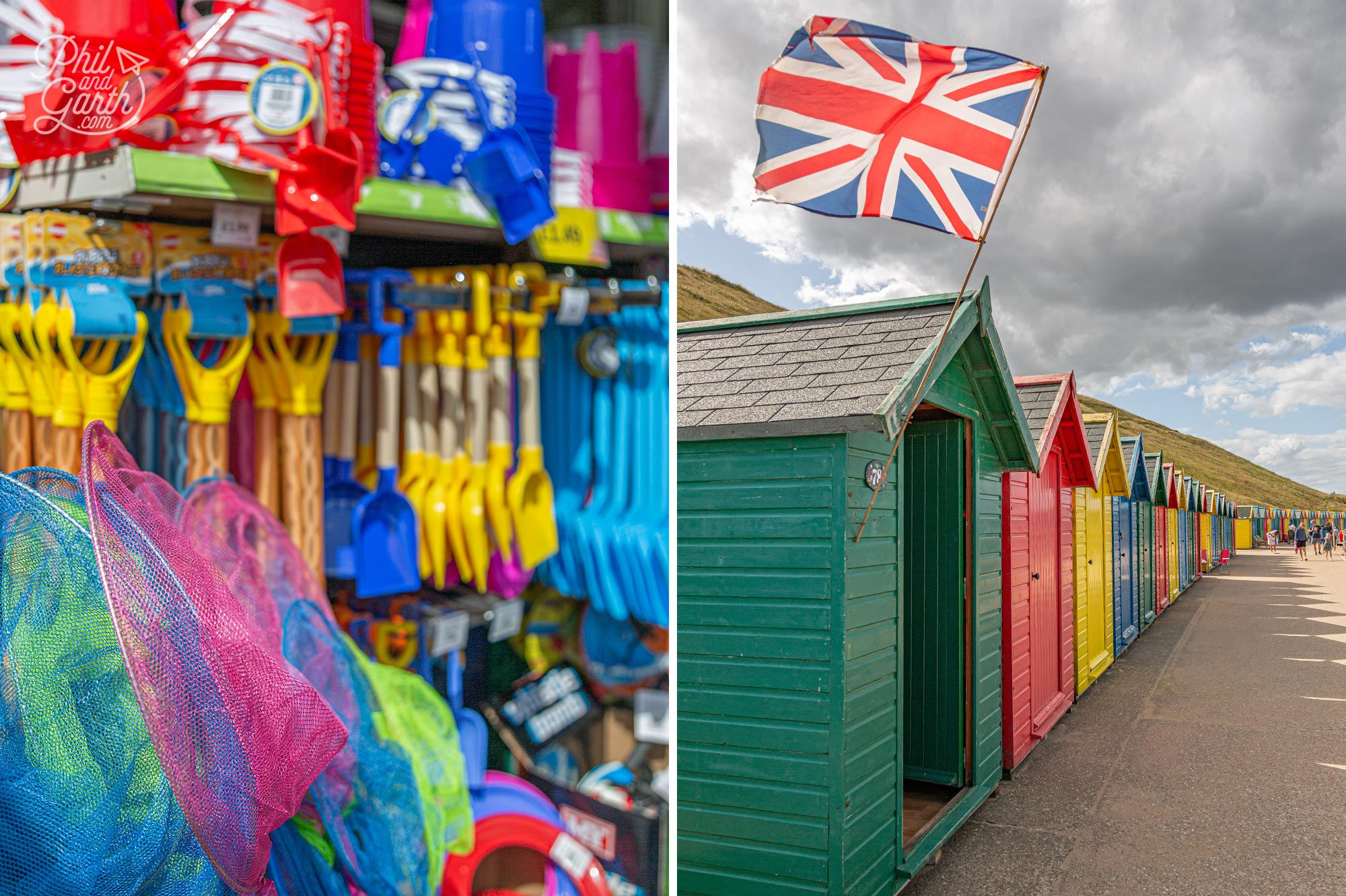 Icons of the British seaside - beach huts, bucket and spades in Whitby
