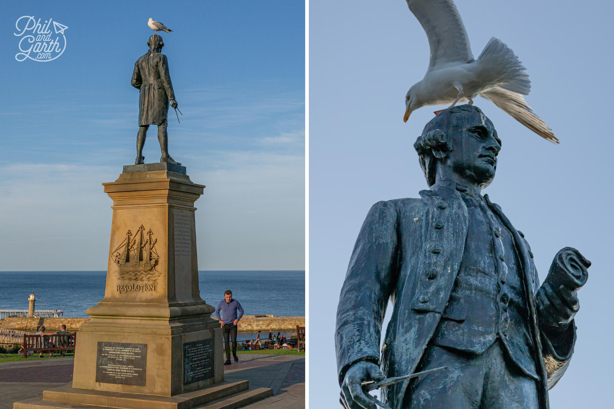 Bronze statue of Captain James Cook in Whitby England