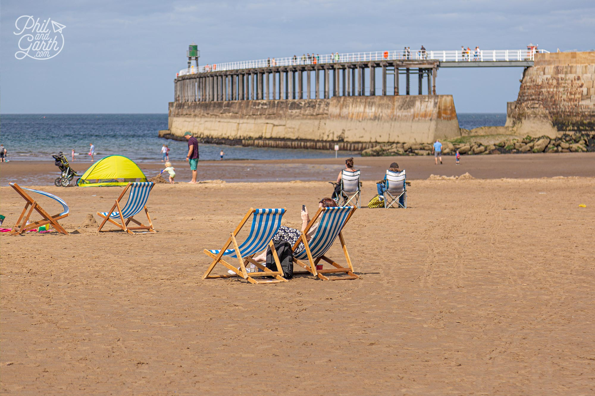 Deckchairs are available for hire on Whitby Beach