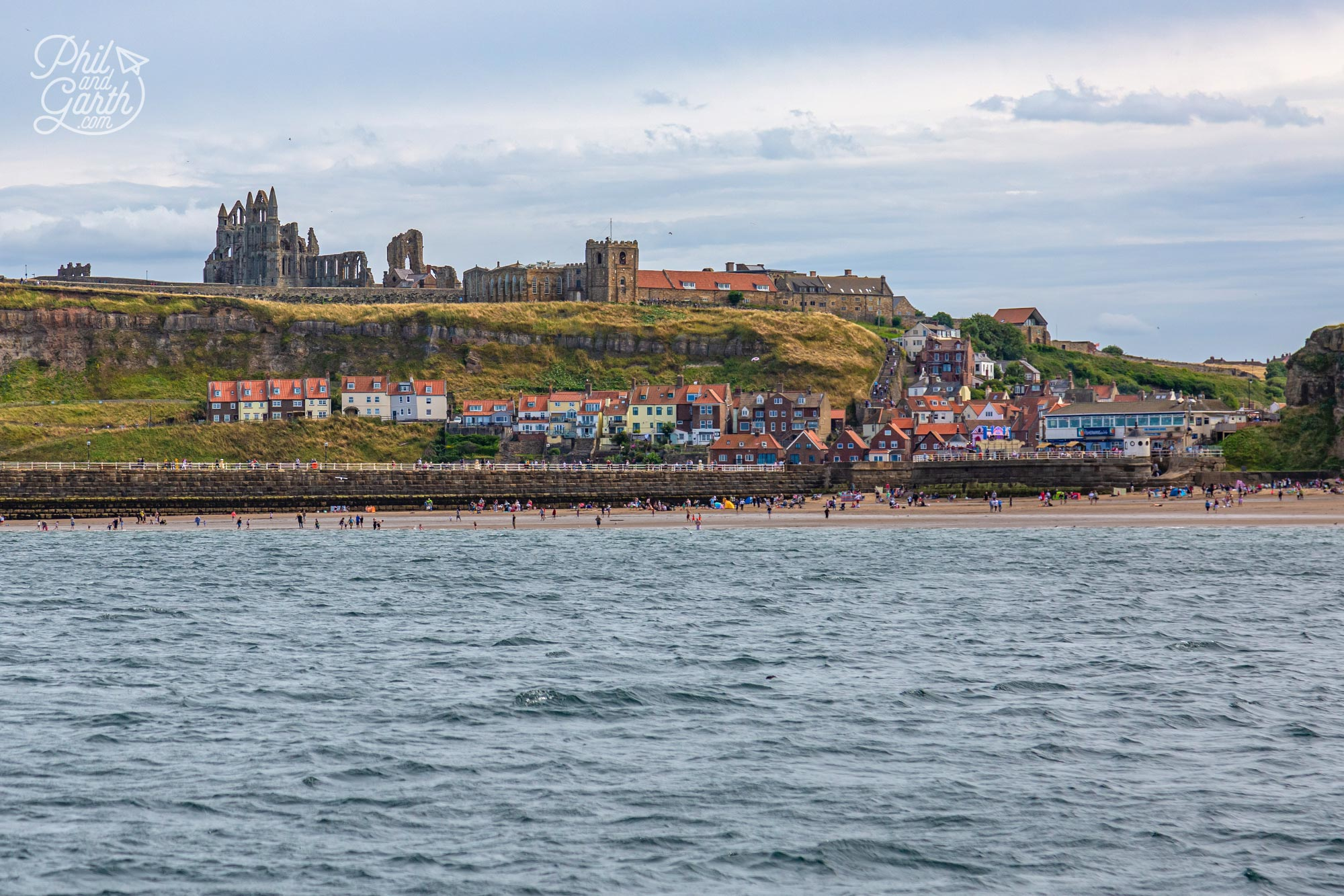 Looking back at Whitby from our boat ride on the North Sea