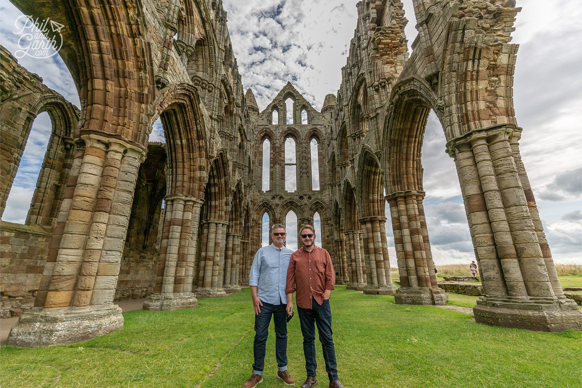 Phil and Garth at the Gothic ruins of Whitby Abbey