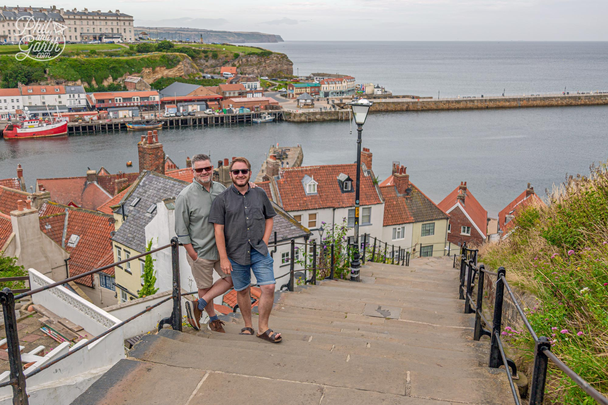 Phil and Garth on the 199 Steps in Whitby England UK