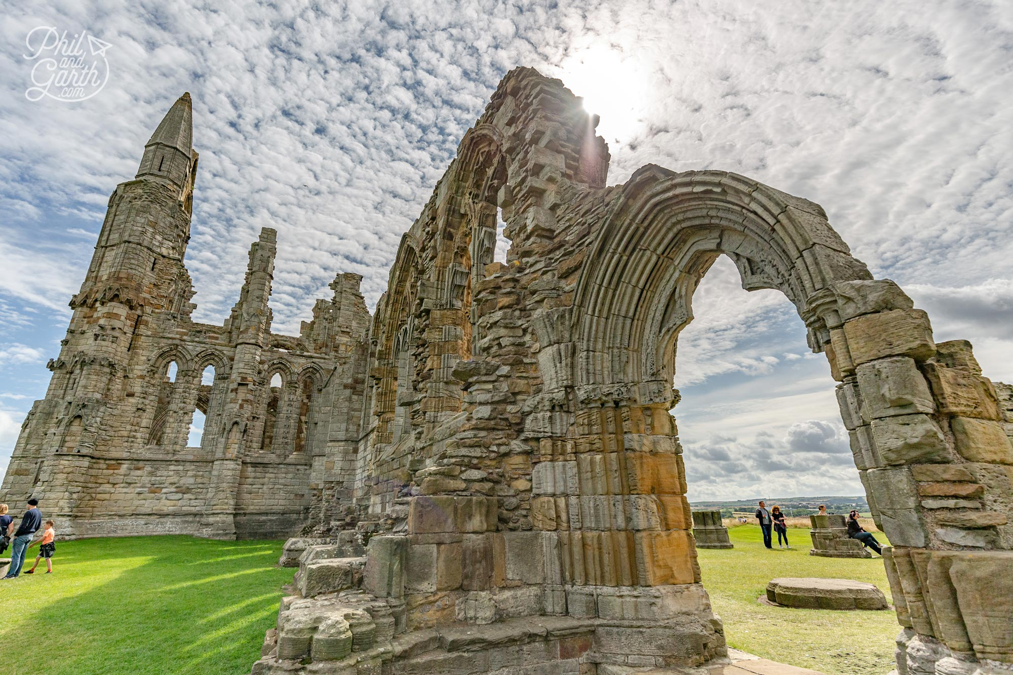 The atmospheric Gothic ruins of Whitby Abbey overlooking the North Sea