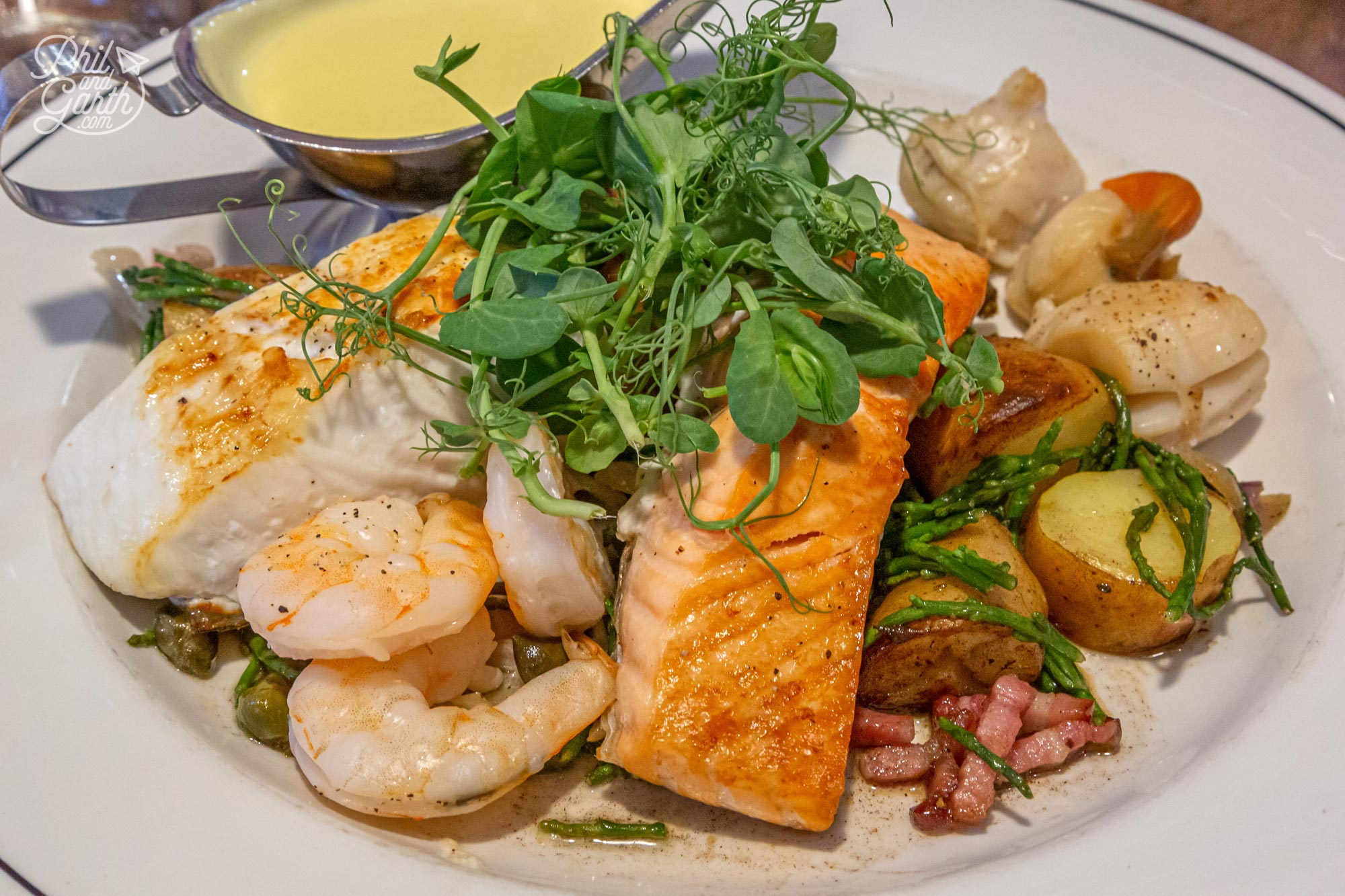 The delicious fish medley dish from The Magpie Cafe