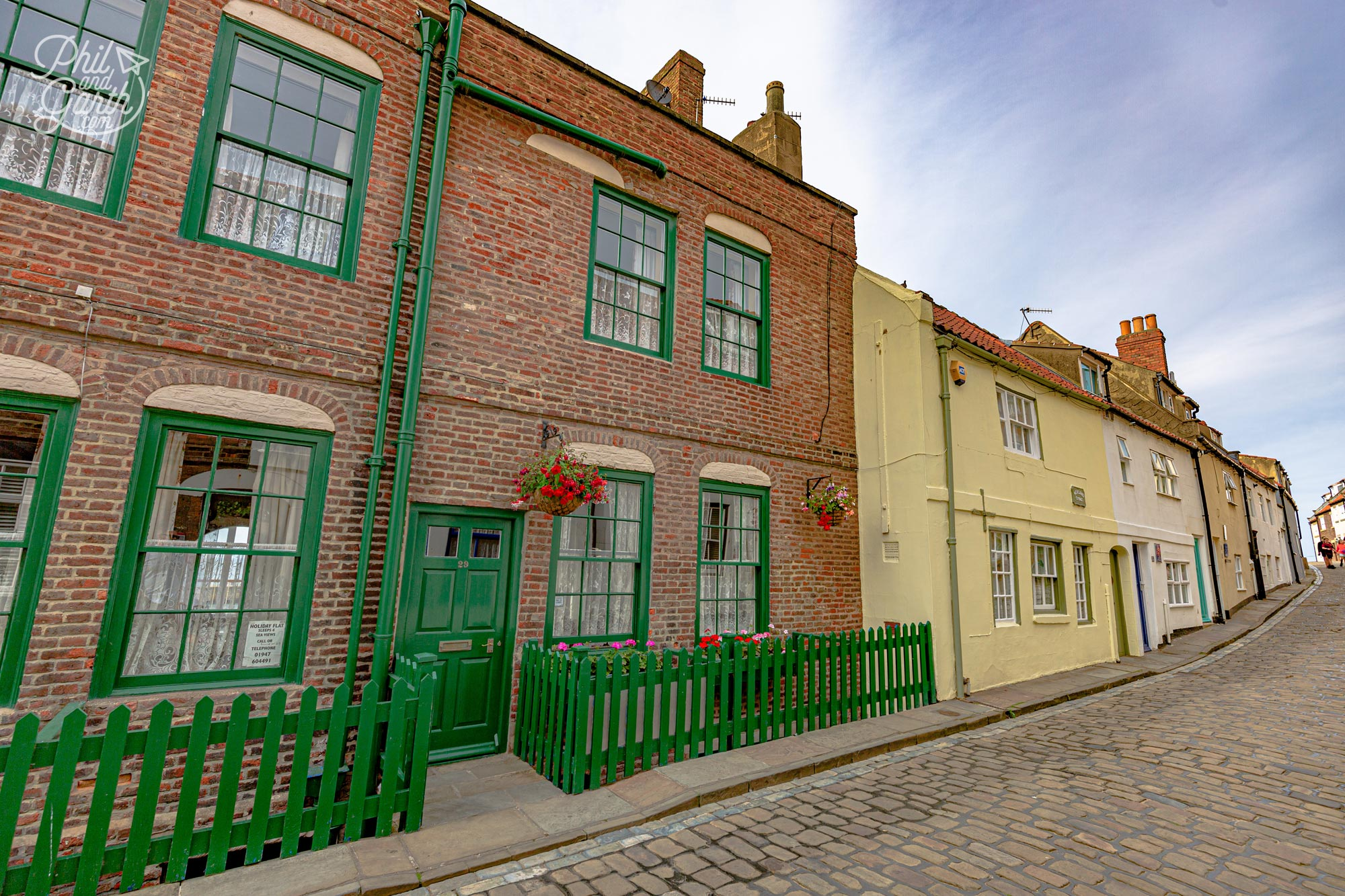 The pretty cobbled lanes in Whitby's old town centre