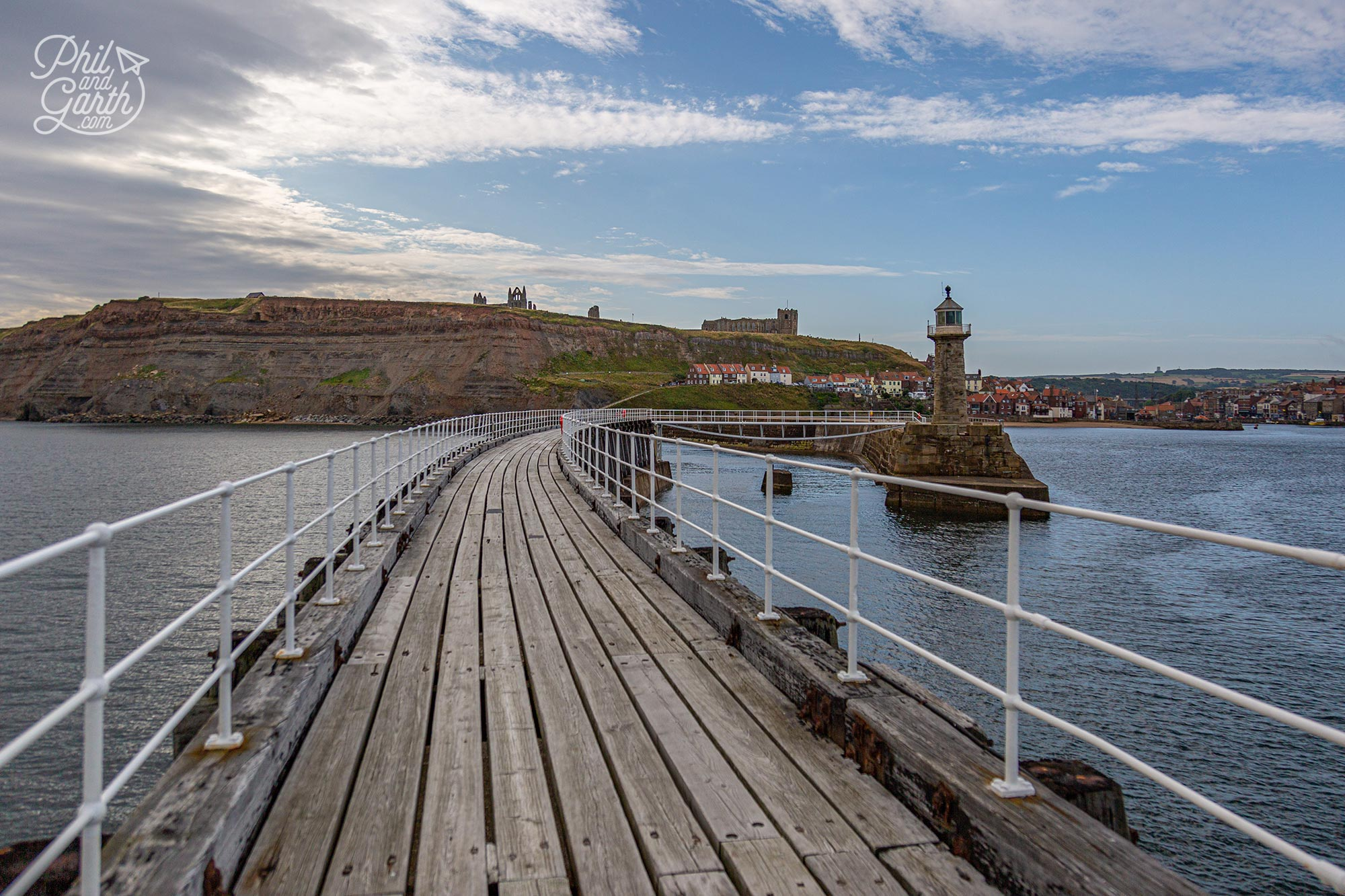 The view from Whitby's East Pier looking back to the harbour