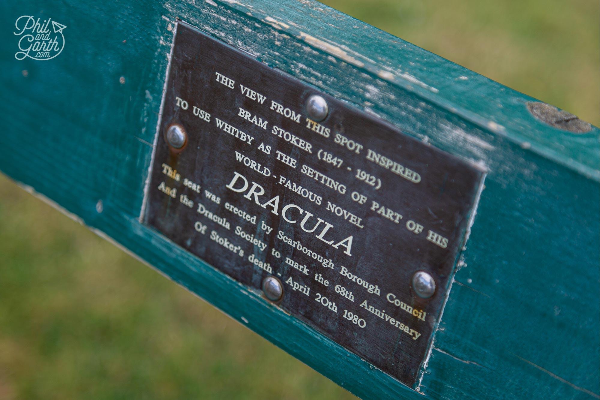 Detail of the Bram Stoker memorial bench.