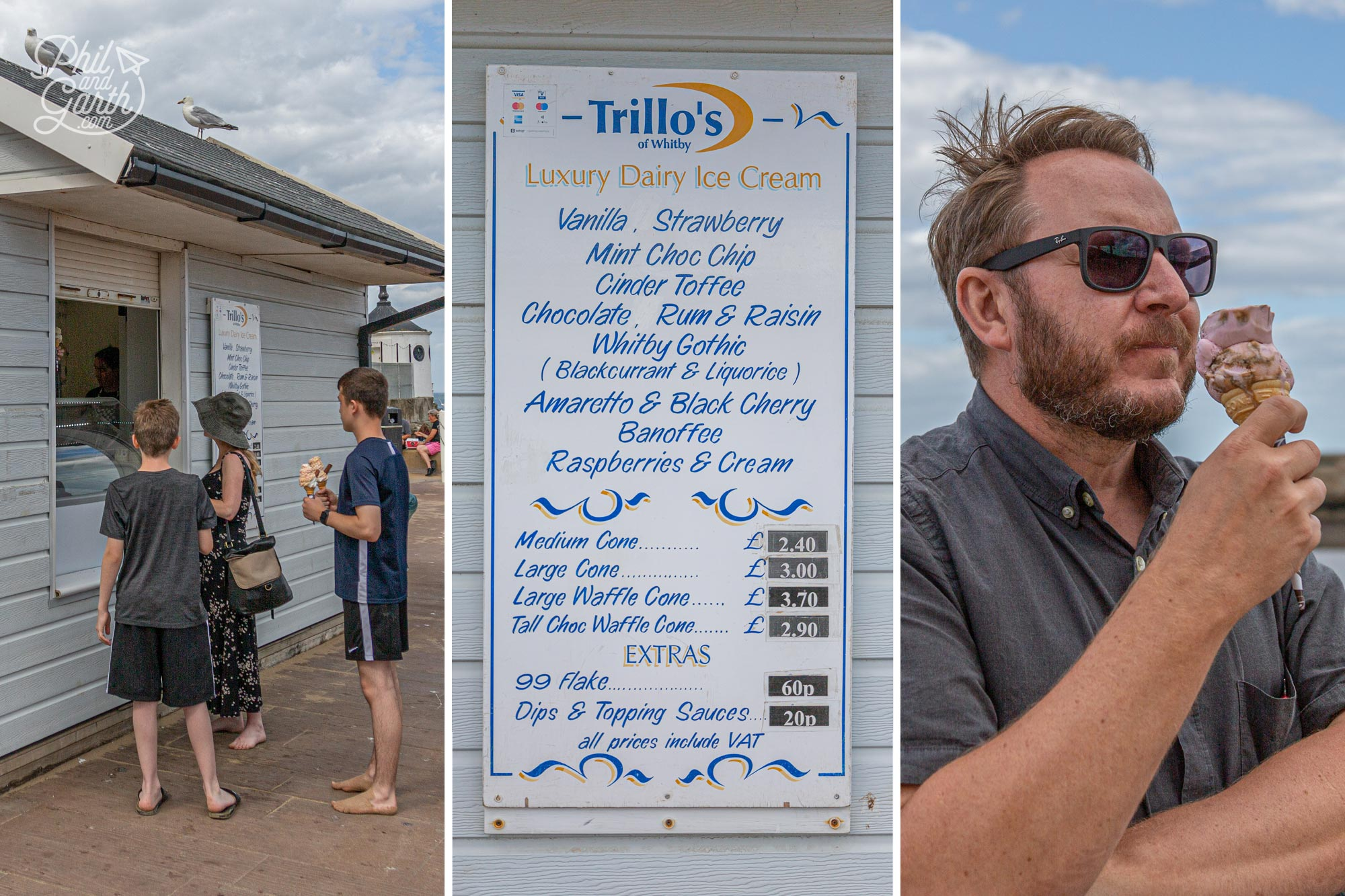 On the West pier - Trillo's Ice Cream is a Whitby institution, Garth tried their Whitby Gothic