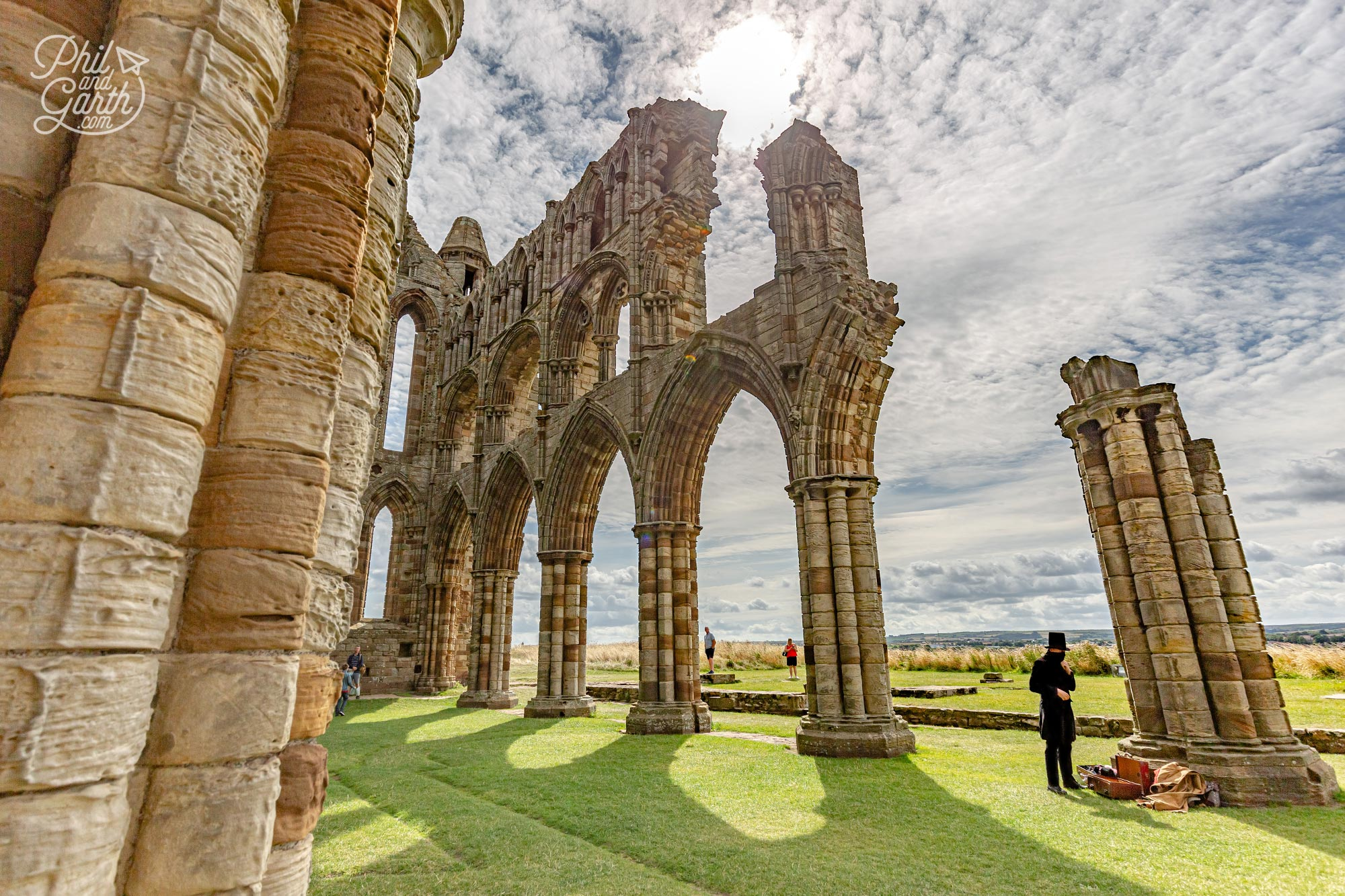 Whitby Abbey with an actor preparing for his Dracula performance
