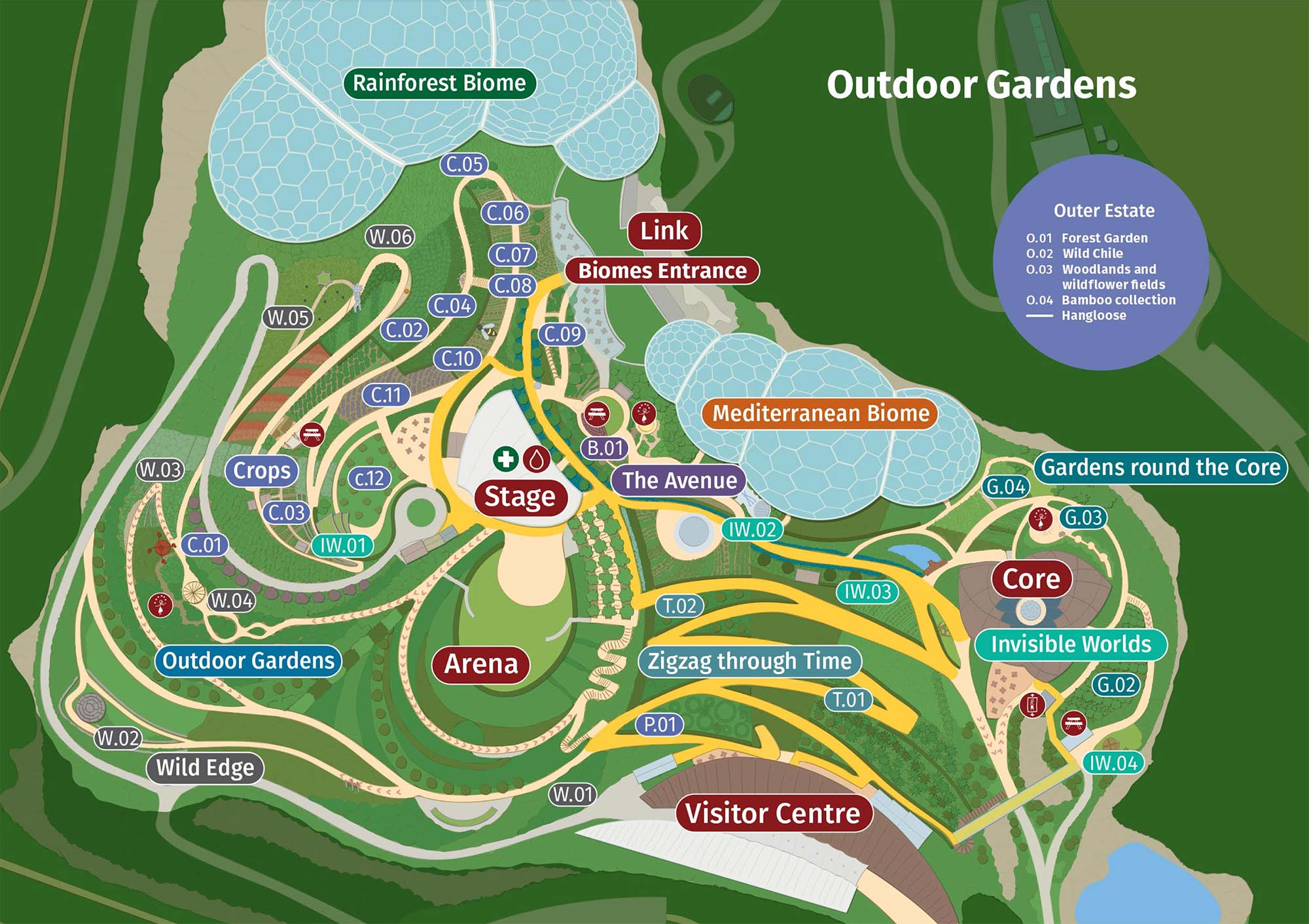 Eden Project Cornwall - Map of the site and outdoor gardens