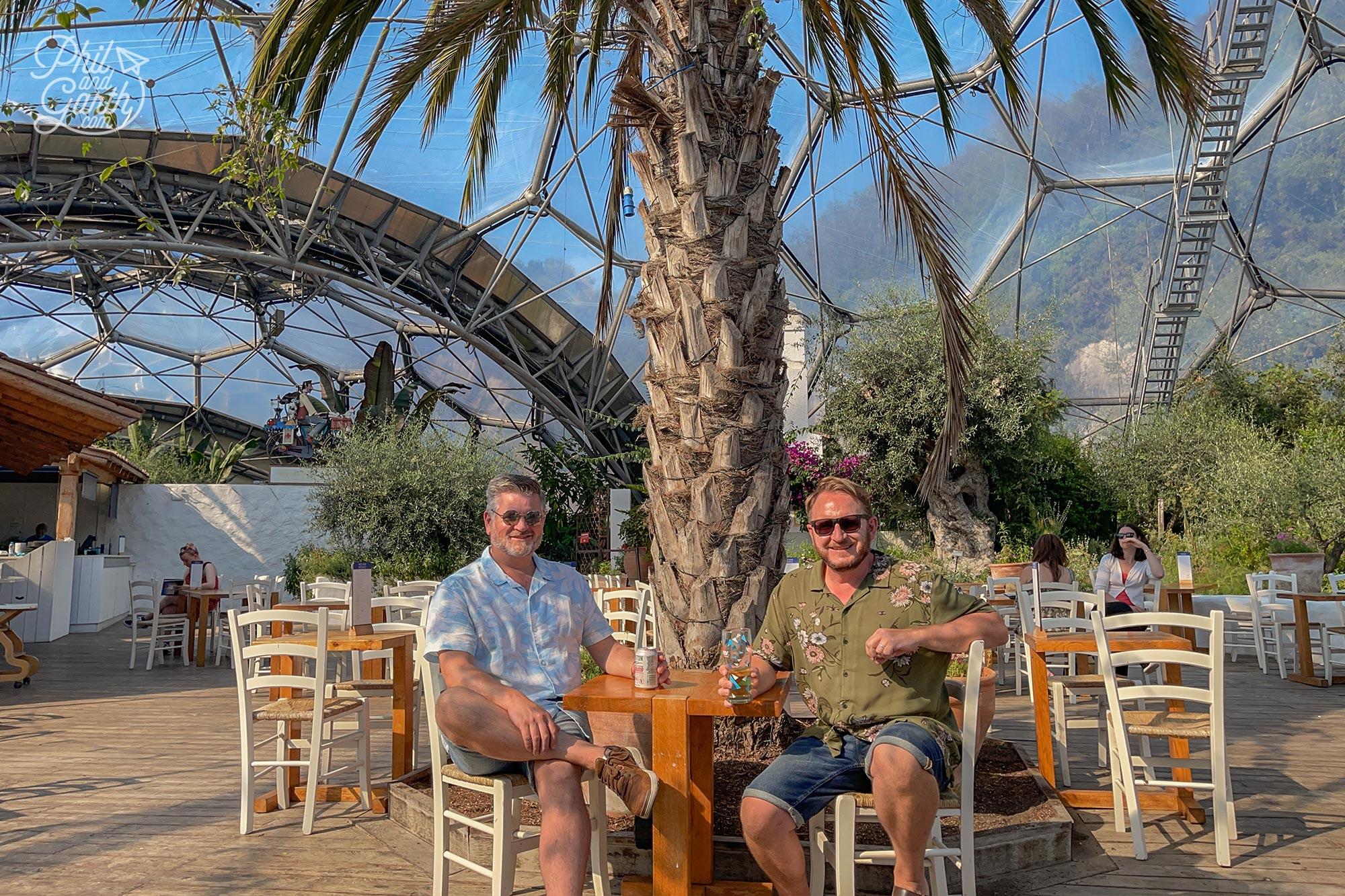 Enjoying some drinks at the Med Terrace restaurant inside the Mediterranean biome