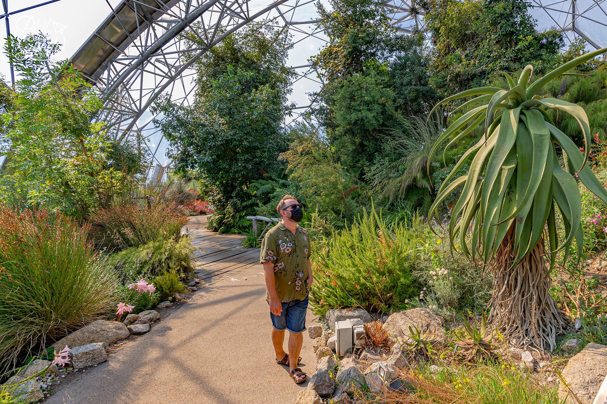 Garth admiring the South Africa garden display in the Mediterranean biome