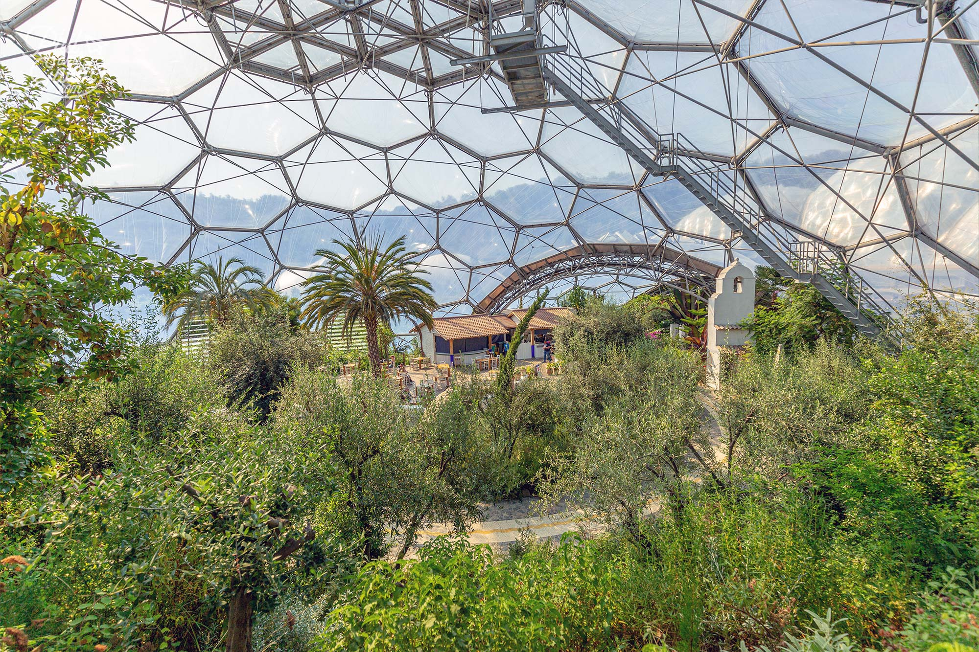 Inside the Mediterranean Biome. The exoskeleton biomes are made of thermoplastic and steel